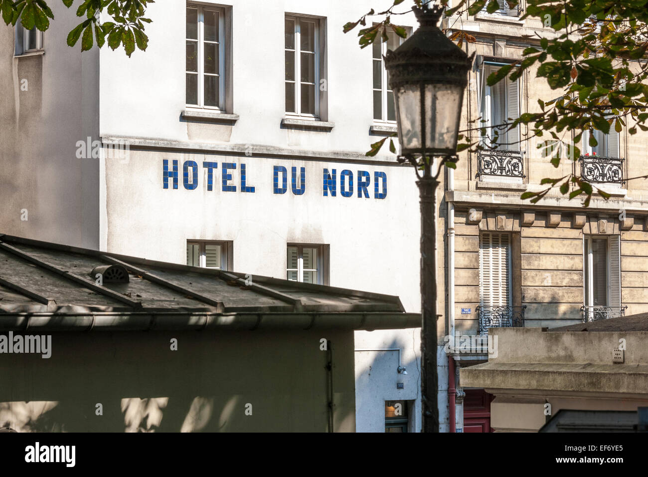 Paris Hotel du Nord famous filming location on on the banks of the Canal St. Martin in Paris, Canal Saint Martin. - Stock Image