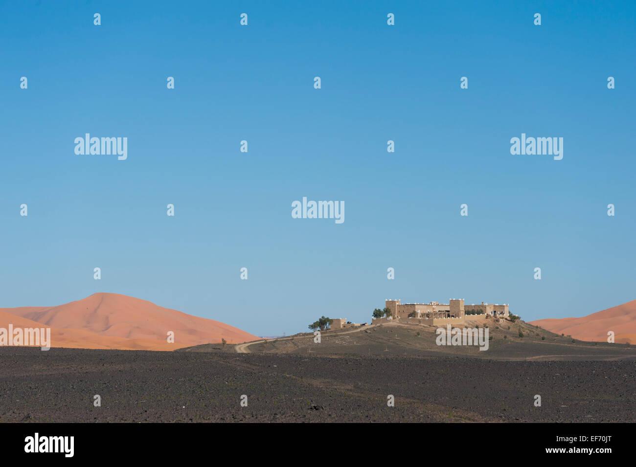 Desert Kasbah hotel, Merzouga, Morocco - Stock Image