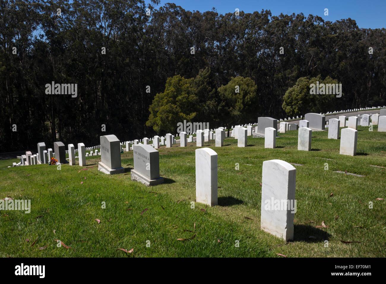 headstones, San Francisco National Cemetery, National Cemetery, Presidio, city of San Francisco, San Francisco, - Stock Image