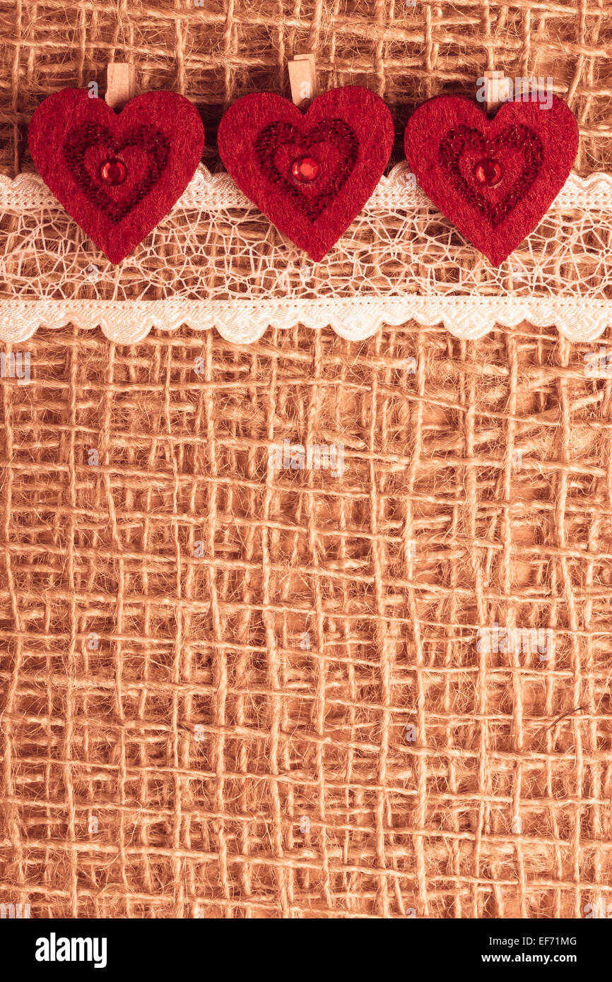 Red Decorative Hearts Lace Ribbon On Rustic Linen Cloth Background With Copy Space Vintage A