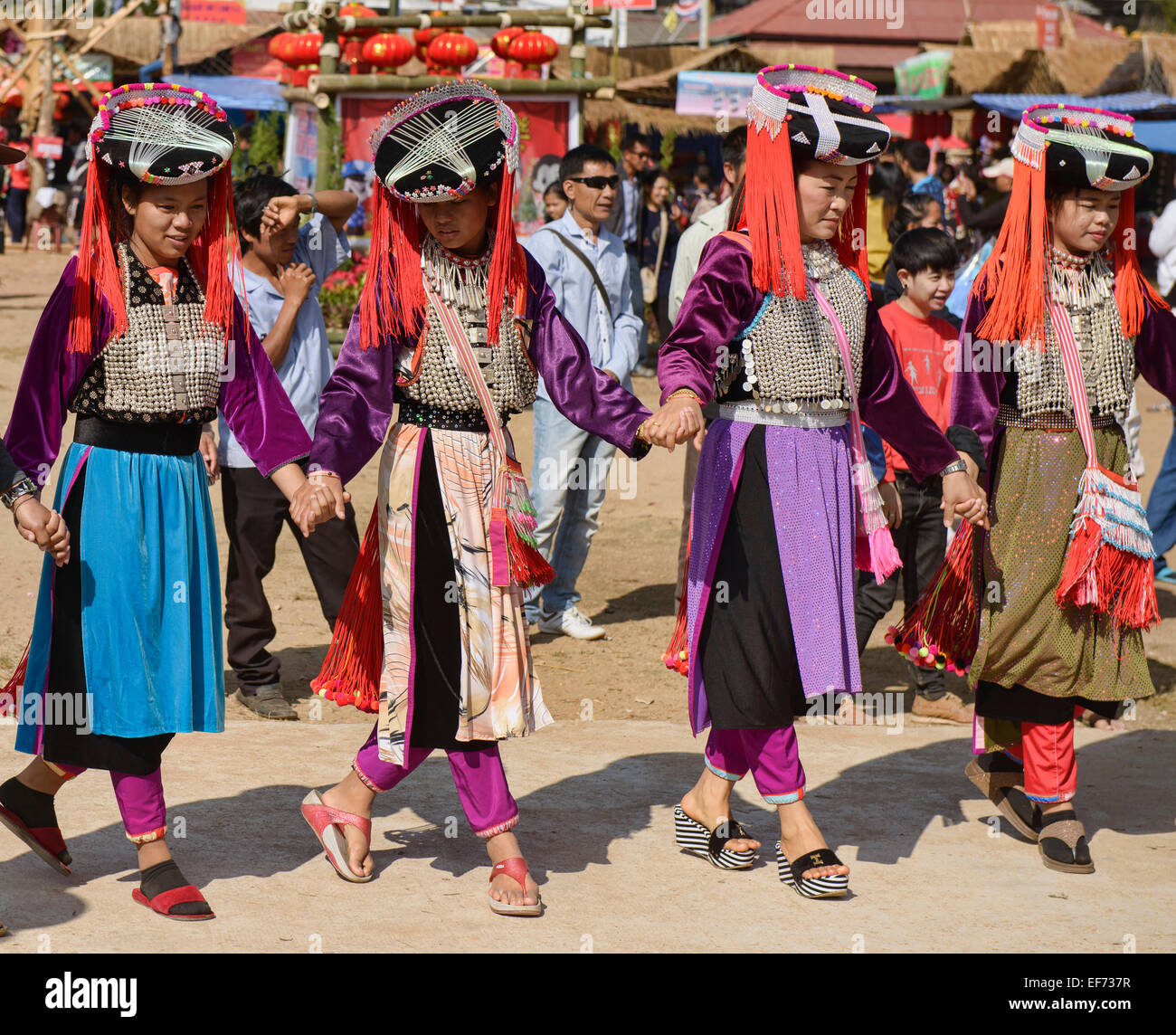 Lisu women dancing at the New Year Festival in Mae Salong, Chiang Rai Province, Thailand - Stock Image