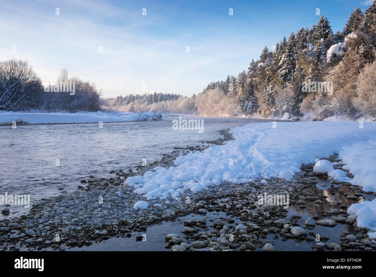 Isar river in the winter, Pupplinger Au, Geretsried, Upper Bavaria, Bavaria, Germany - Stock Image