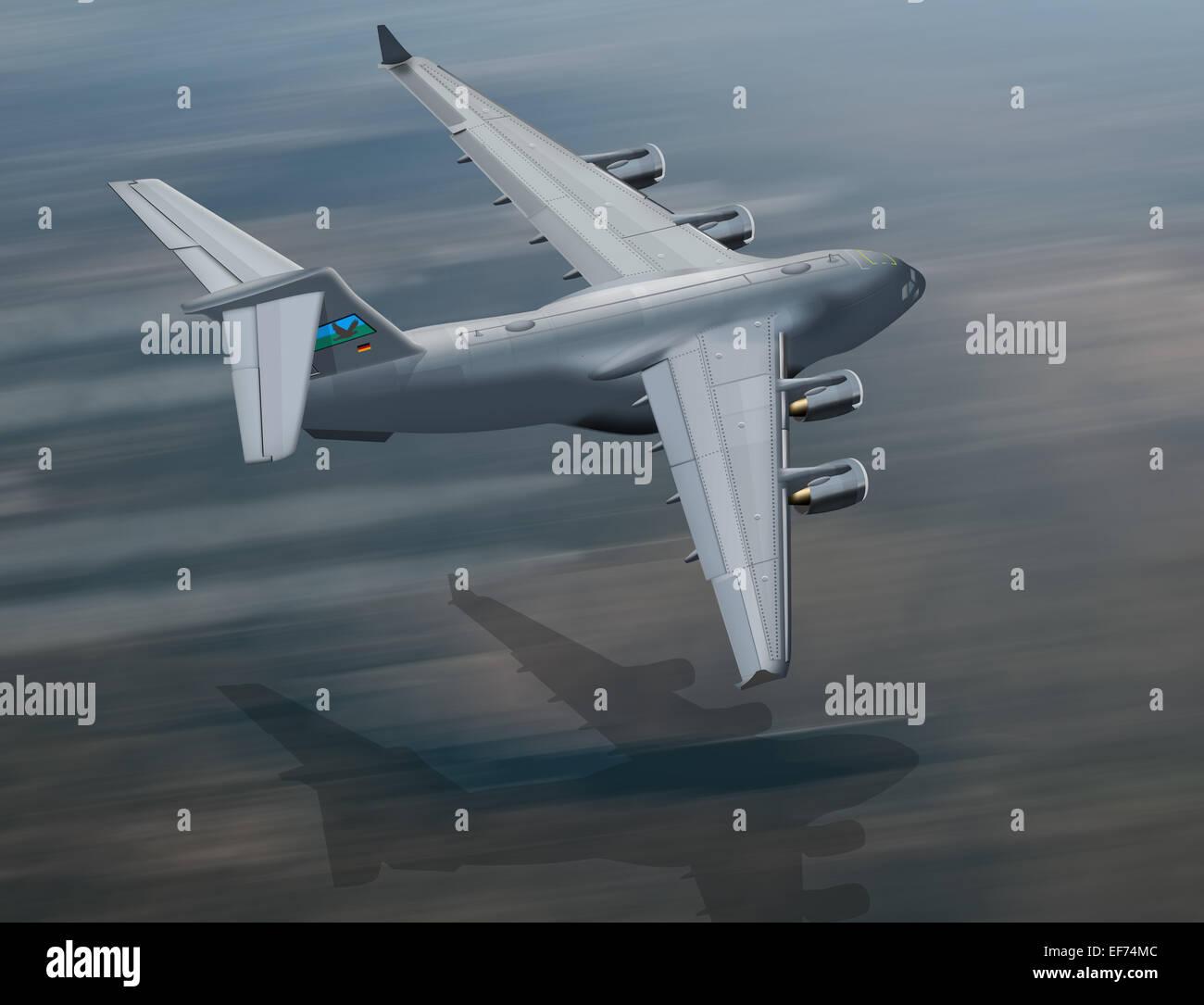C17 military transport plane at low altitude, illustration - Stock Image