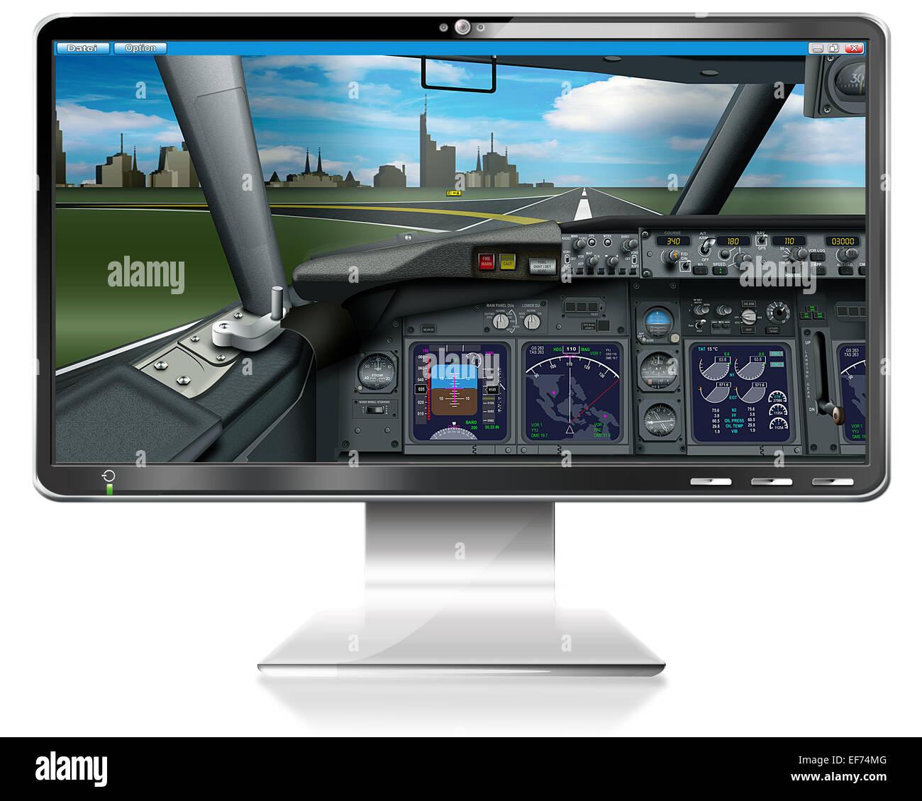 PC game, flight simulator, illustration Stock Photo