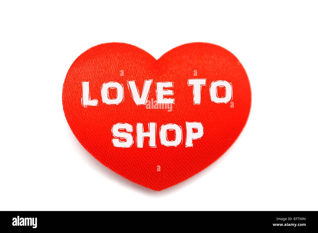 Love to shop red heart shopping concept - Stock Image