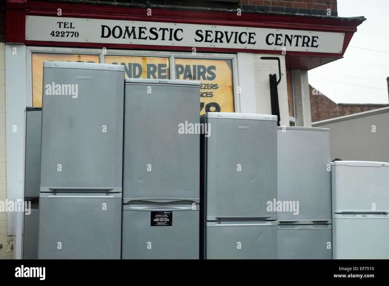 2nd hand fridges freezers  being sold outside a shop Nottingham England UK - Stock Image