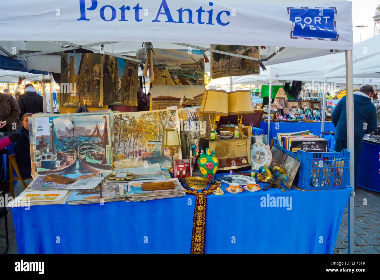 Port Antic, flea and antiques market, Port Vell, Barcelona, Spain - Stock Image