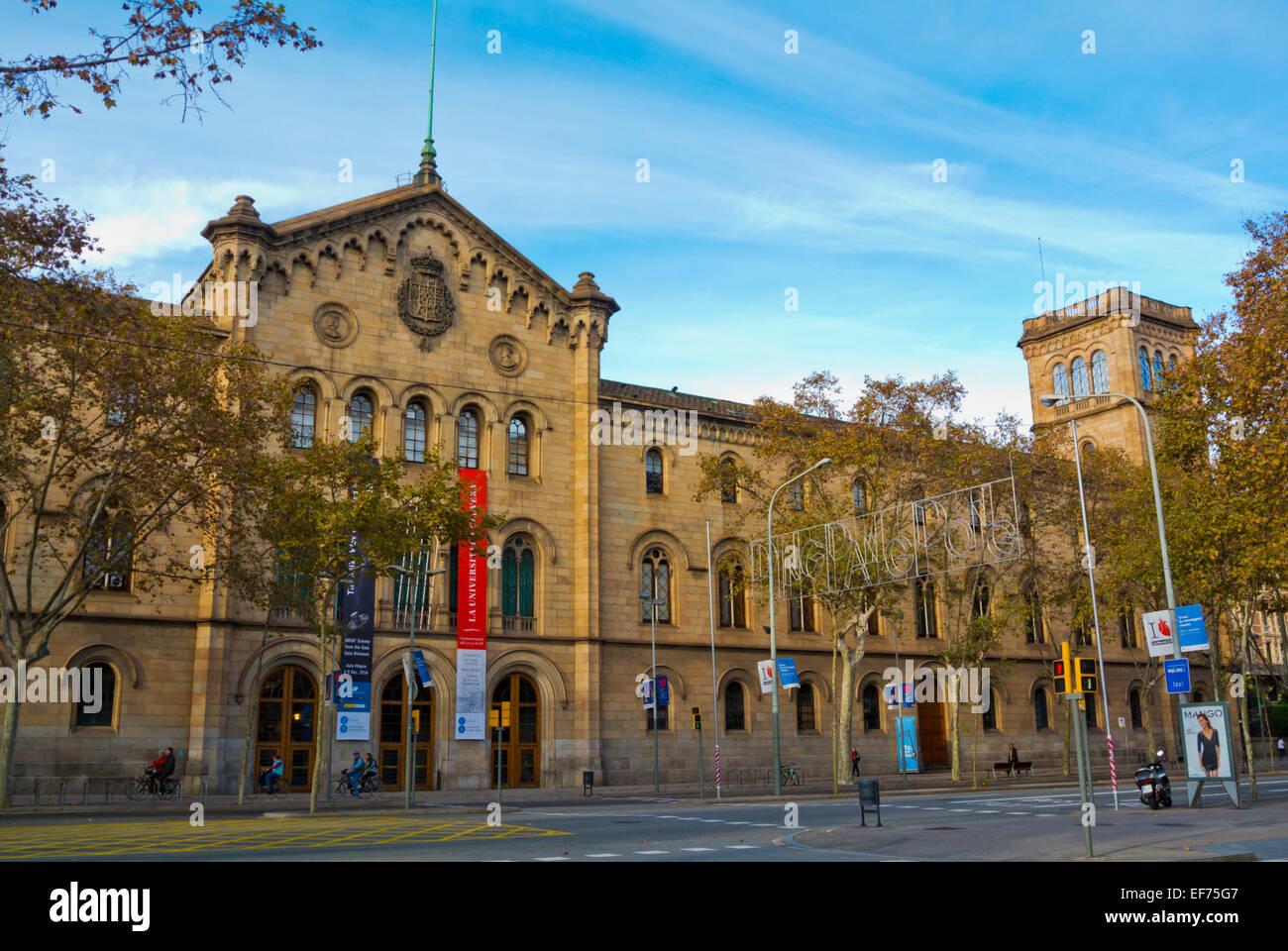 Neogothic style universitat de Barcelona main building (1869), Placa Universitat, Barcelona, Spain - Stock Image