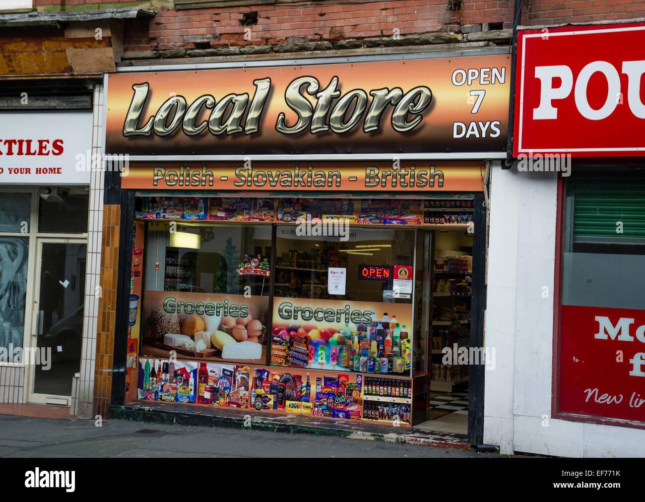A shop selling Polish and British goods Colwyn Bay Gwynedd North Wales - Stock Image