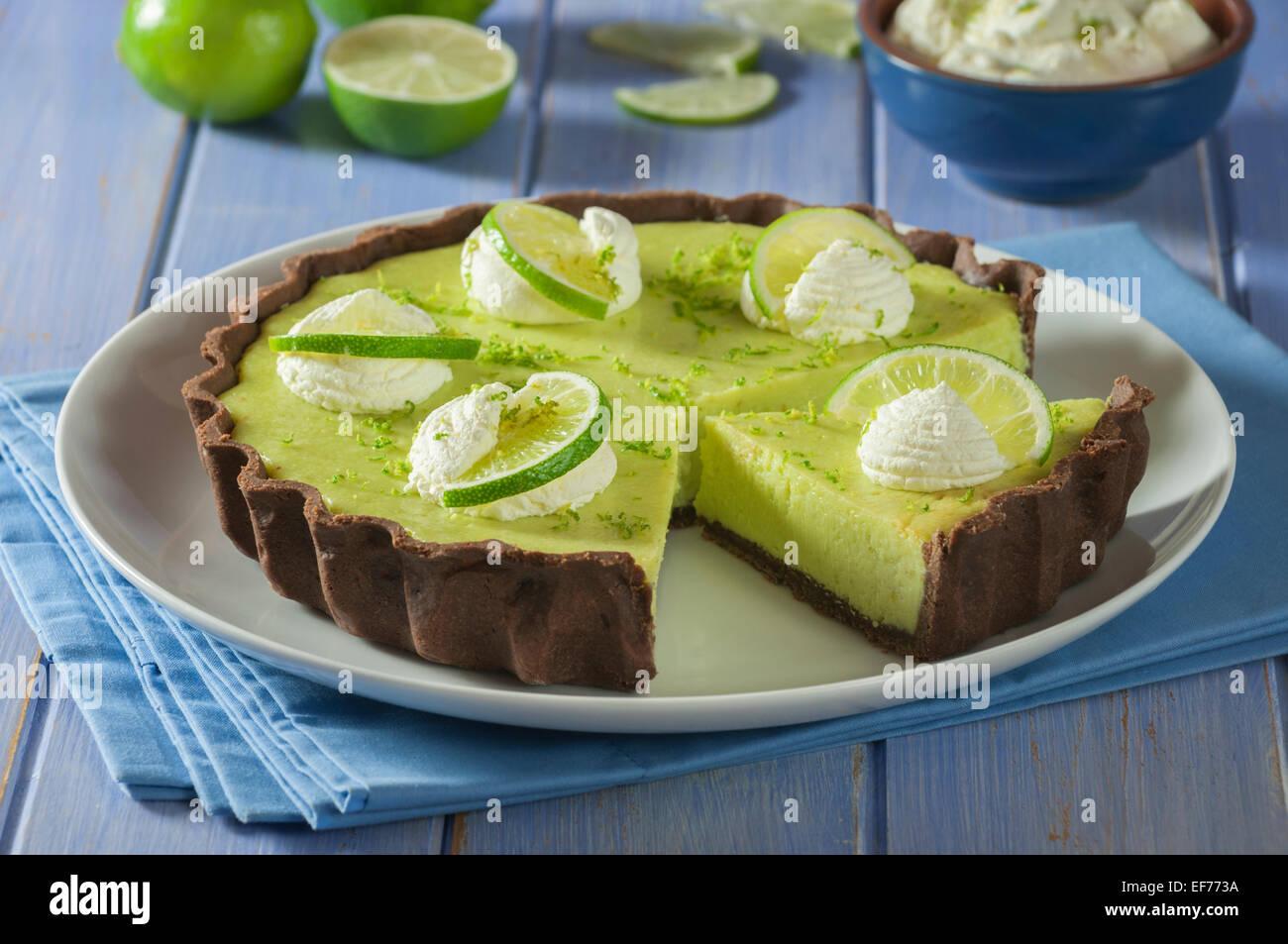 Key lime pie. Citrus dessert USA - Stock Image
