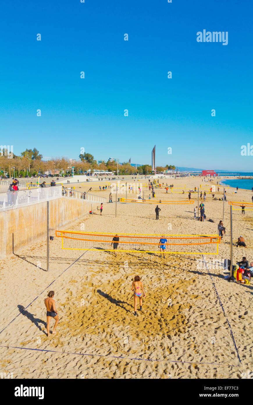 Beach volleyball, Platja Nova Icaria beach, Barcelona, Spain - Stock Image
