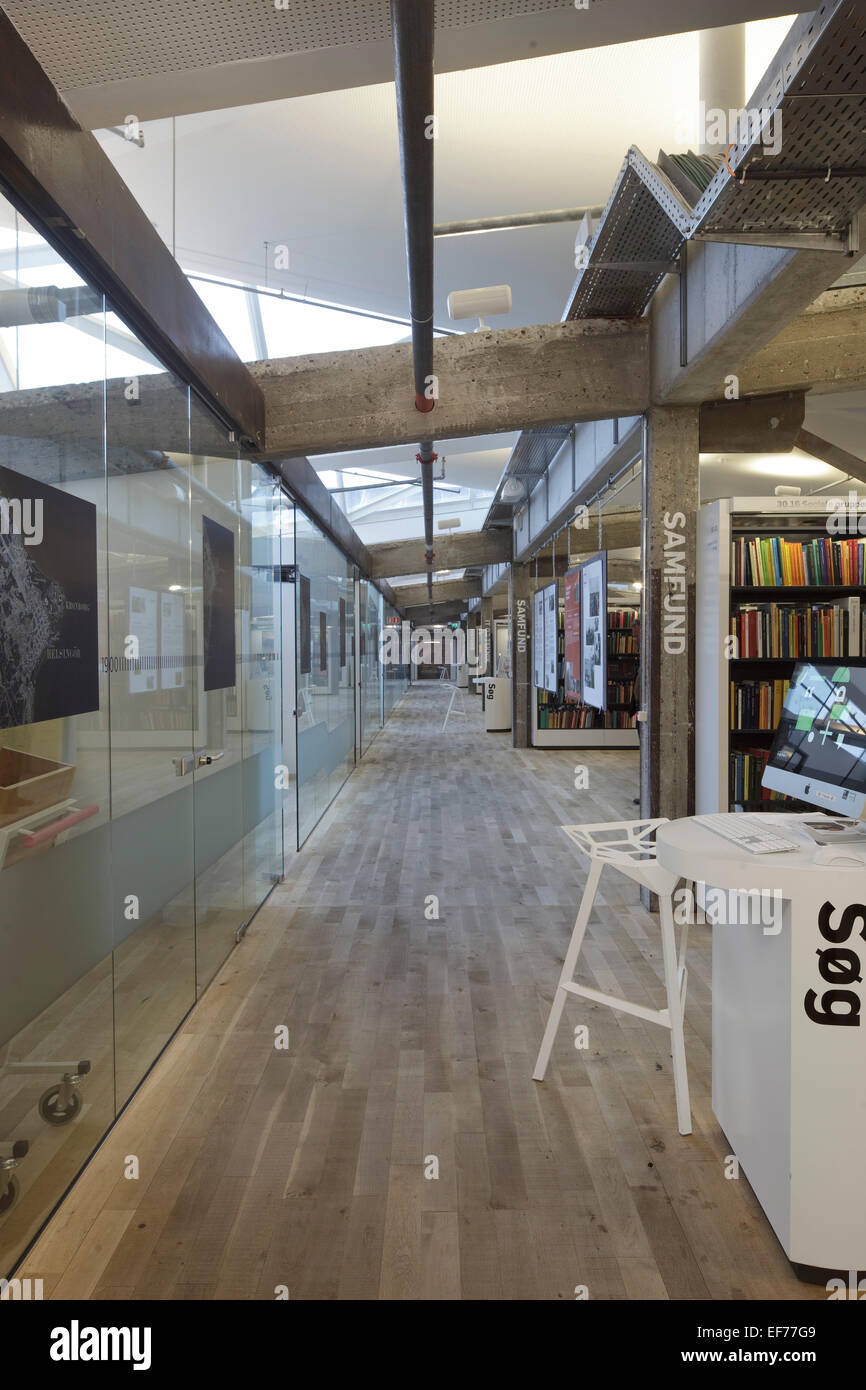 Culture yard kulturvaerftet helsingor denmark architect aart architects 2010 library interior with exposed concrete bea