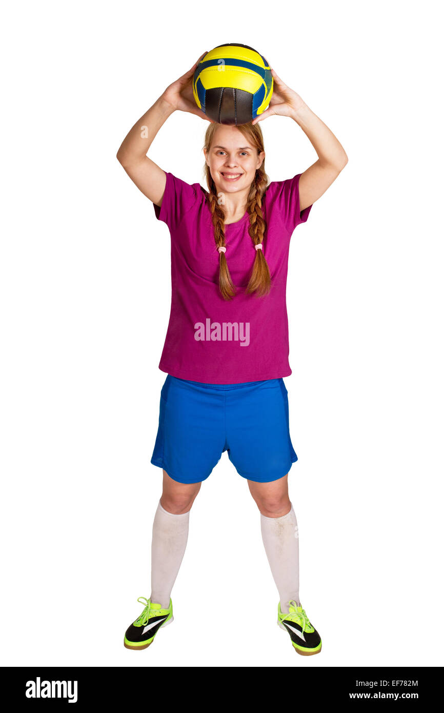 sportswoman with ball on the white background - Stock Image