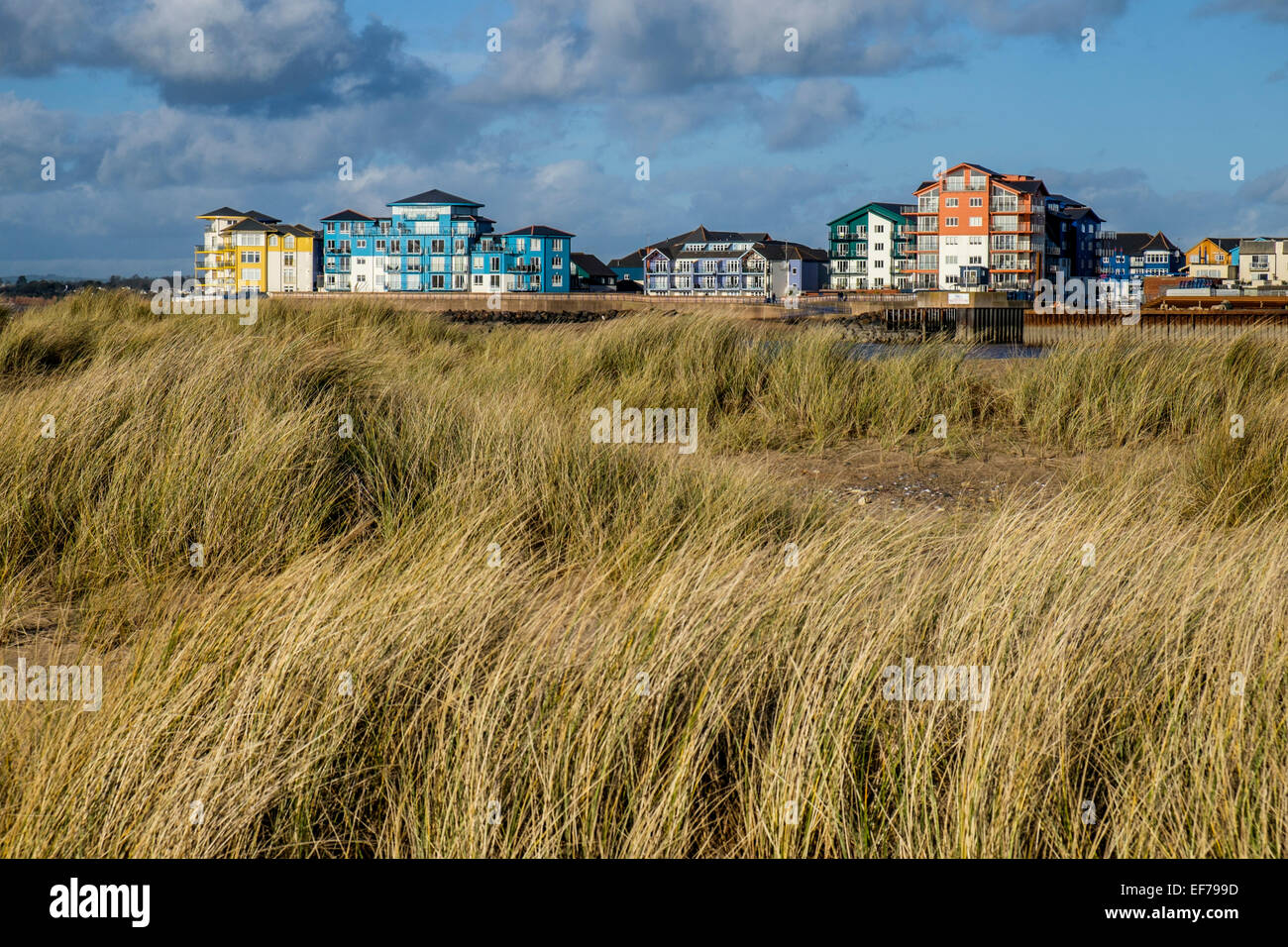 Modern apartments on the waterfront in Exmouth - Stock Image