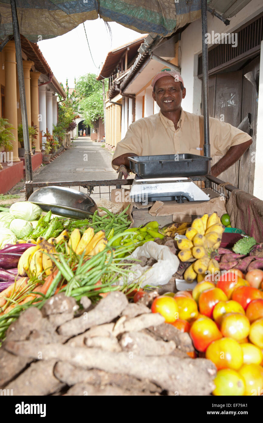 FRUIT SELLER AND CART - Stock Image