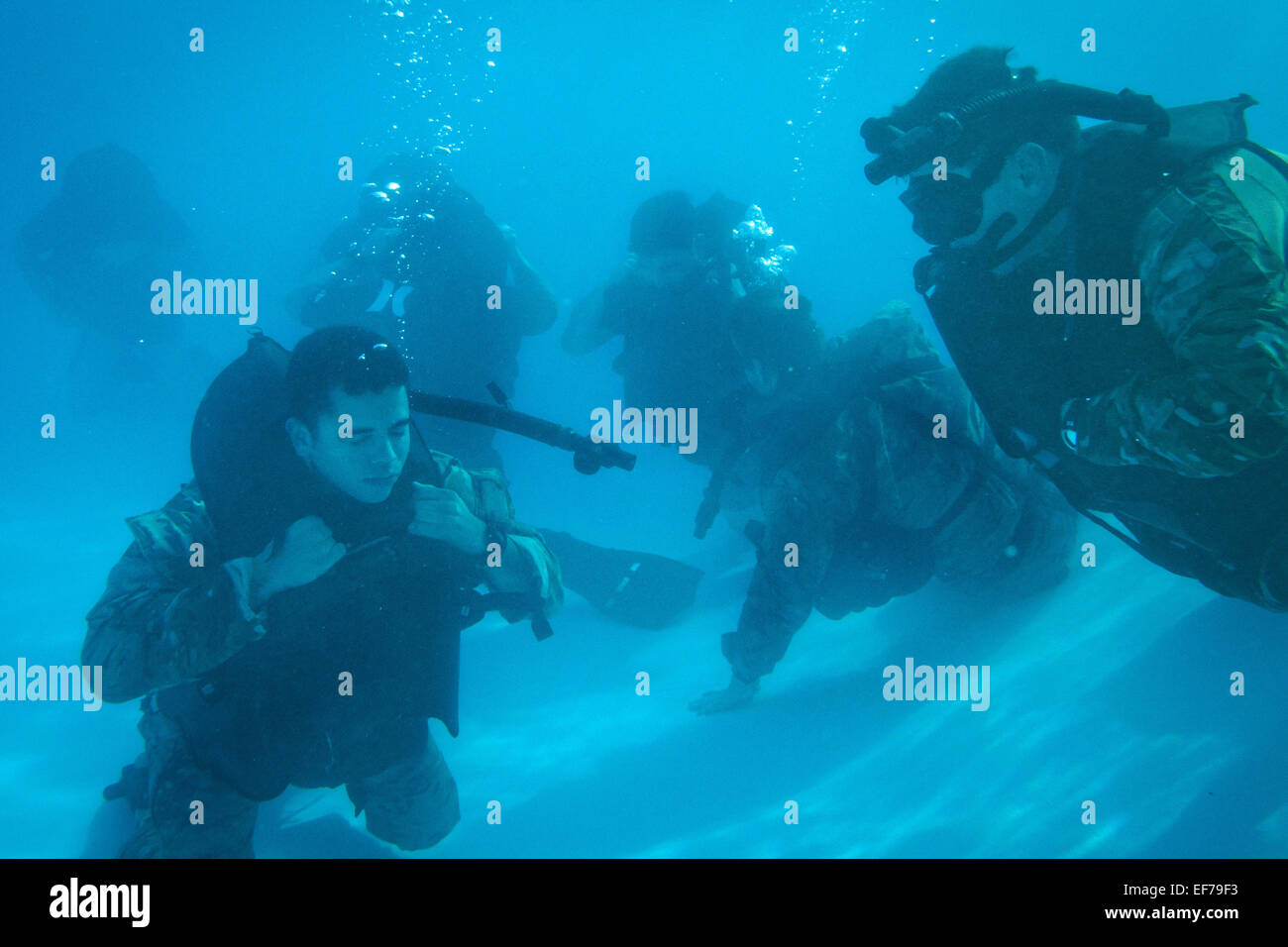 US Special Forces commandos with the 7th Special Forces Group underwater during a scuba recertification training Stock Photo