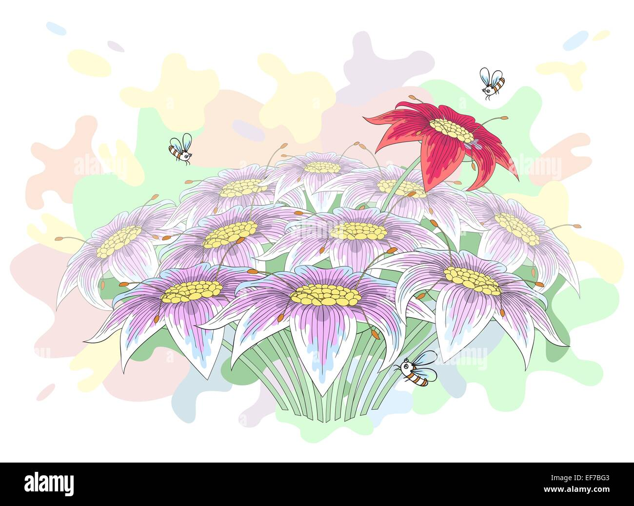 Vector Bunch Of Beautiful Lily Flowers With Bees Turning Over Them