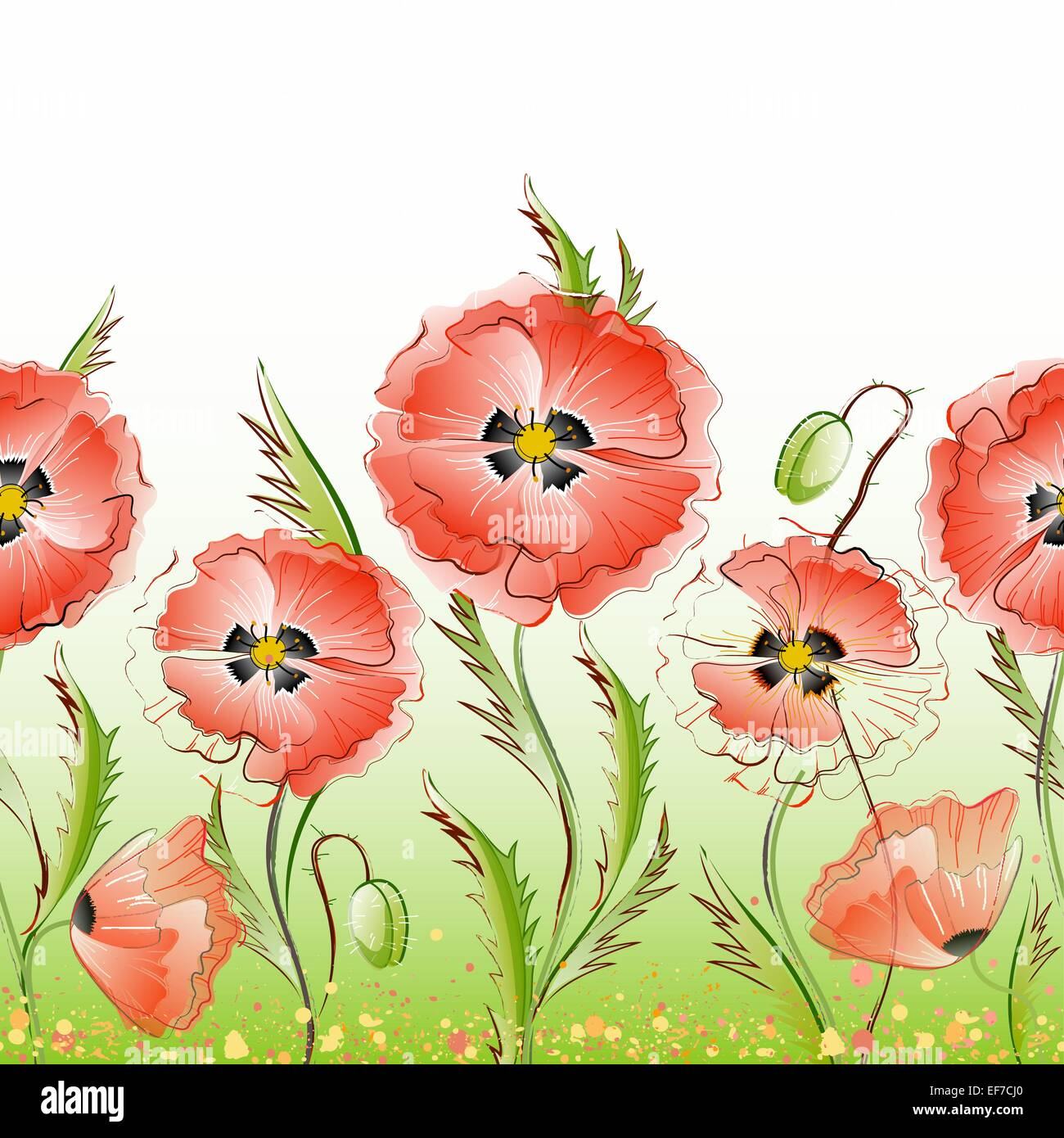 Vector seamless pattern with red gentle poppy flowers - Stock Vector
