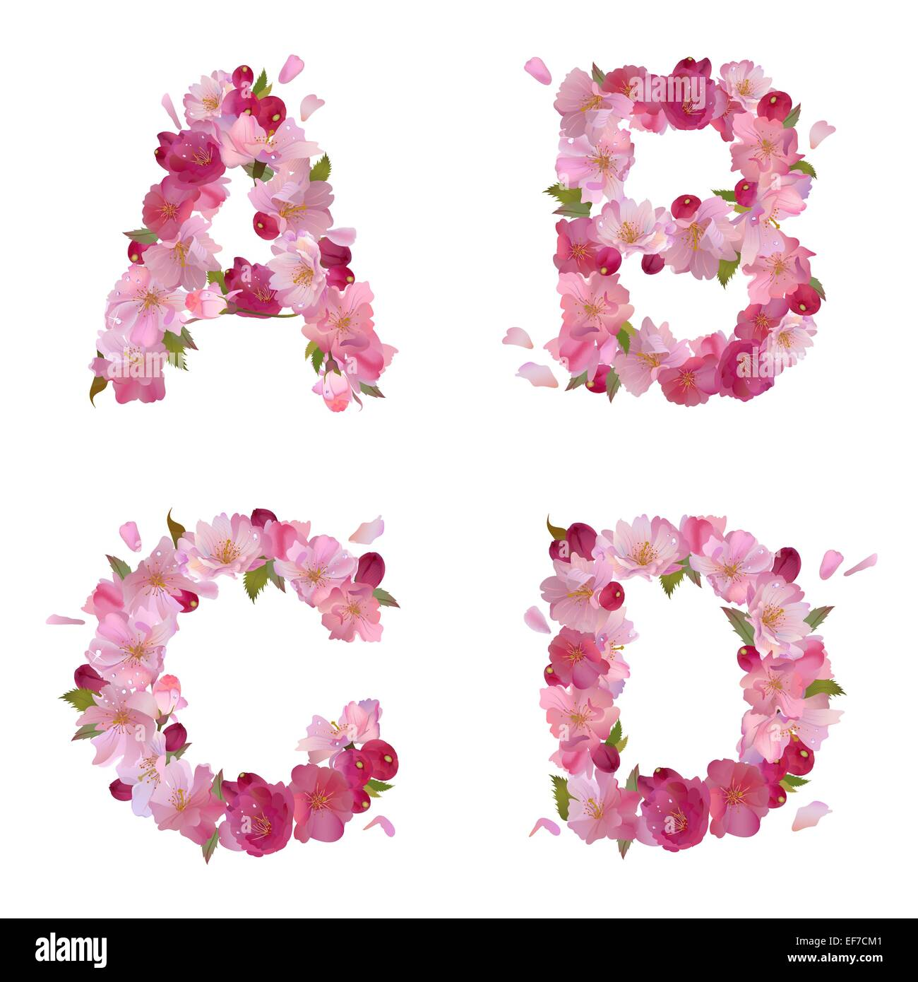 Vector spring alphabet with gentle pink sakura flowers letters Stock