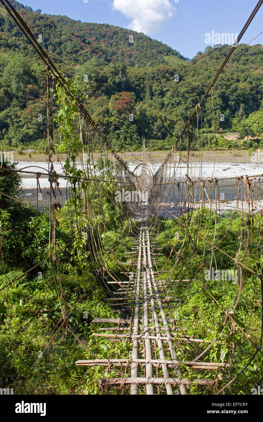 1000ft (300m) long suspension bridge over the siang river - Stock Image