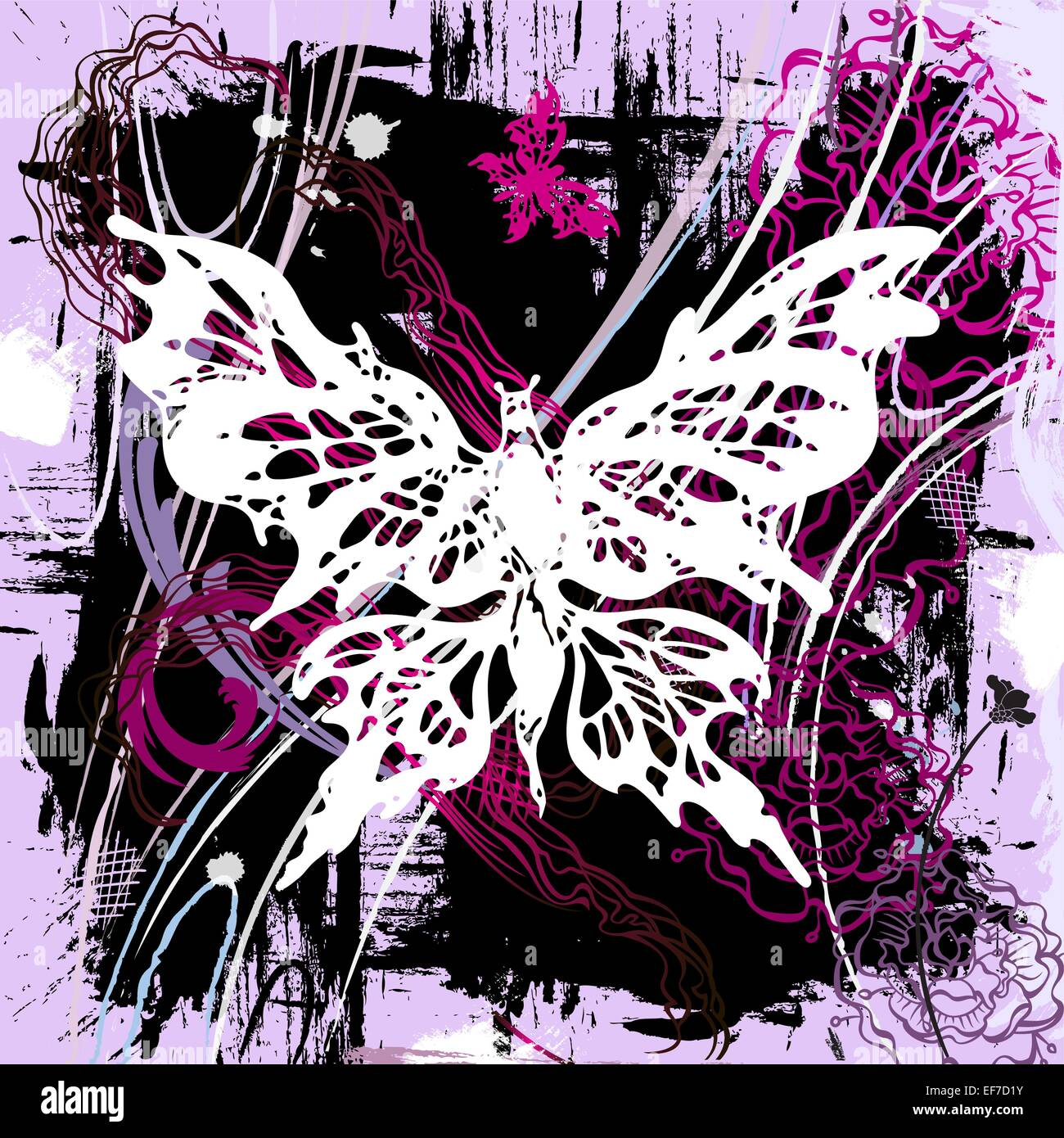 Vector pictorial grunge background with white and pink butterflies and flowers Stock Vector