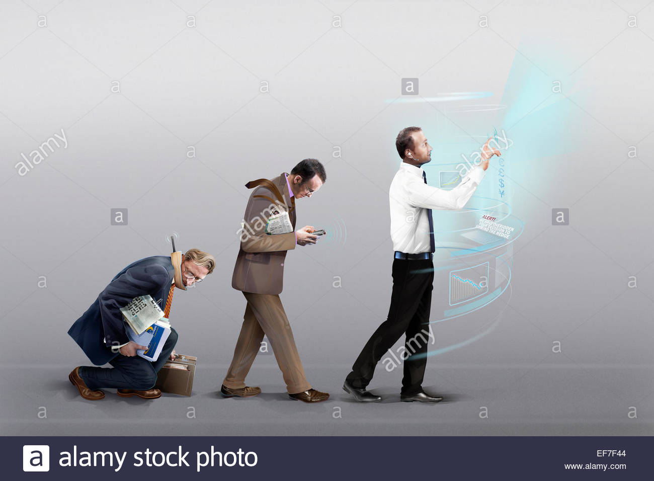 Three businessmen in stages of evolution of mobile communication technology - Stock Image