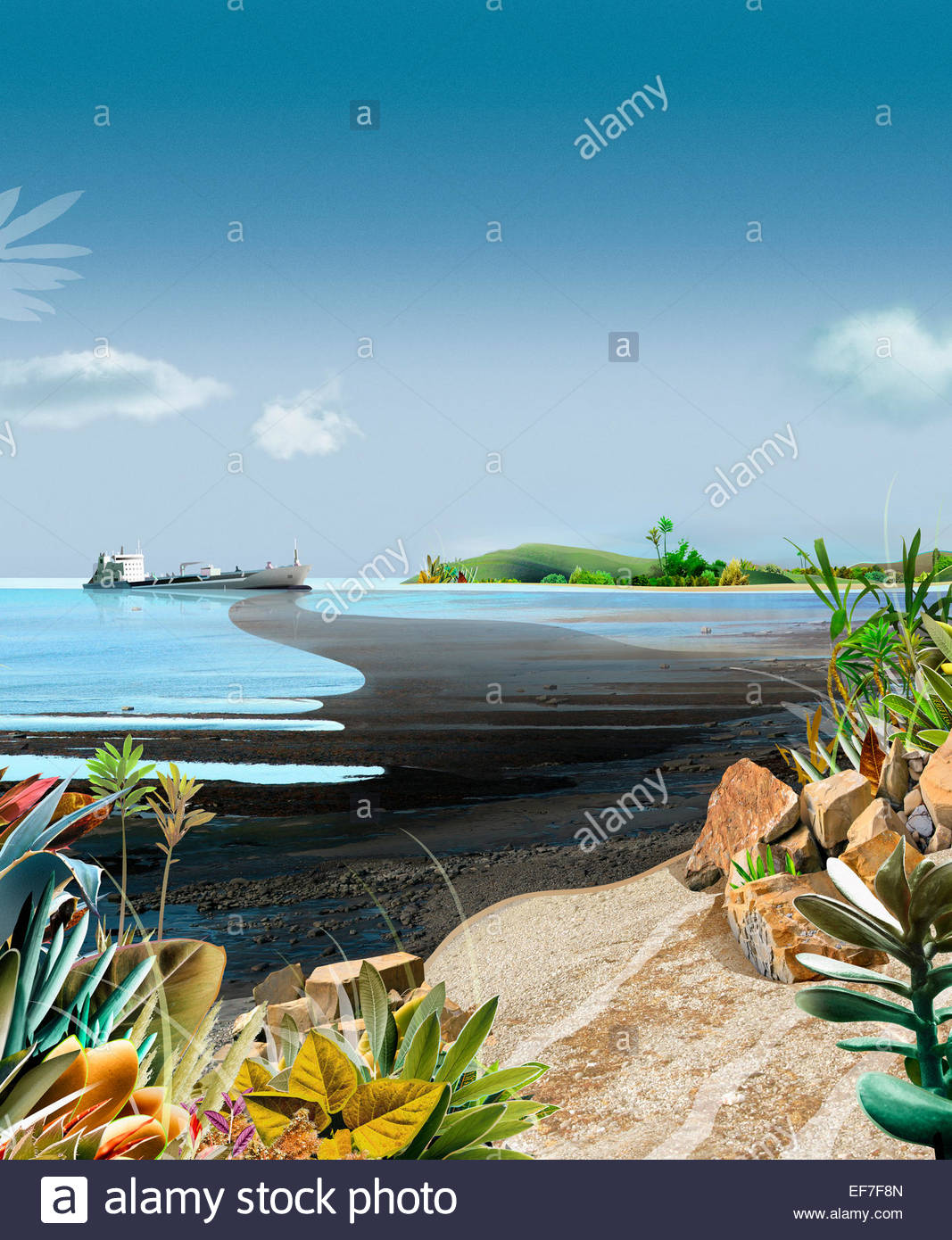 Oil slick spilling onto beach from sinking ship - Stock Image