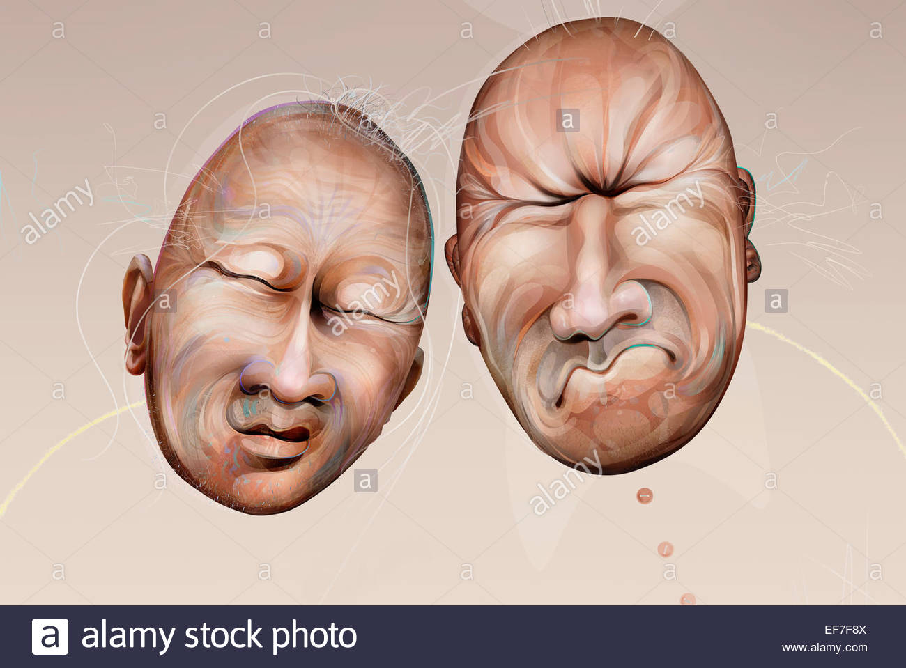 Two bald grimacing faces - Stock Image