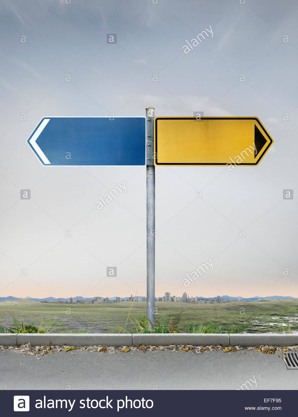 Blank yellow and blue road signs pointing in opposite directions - Stock Image