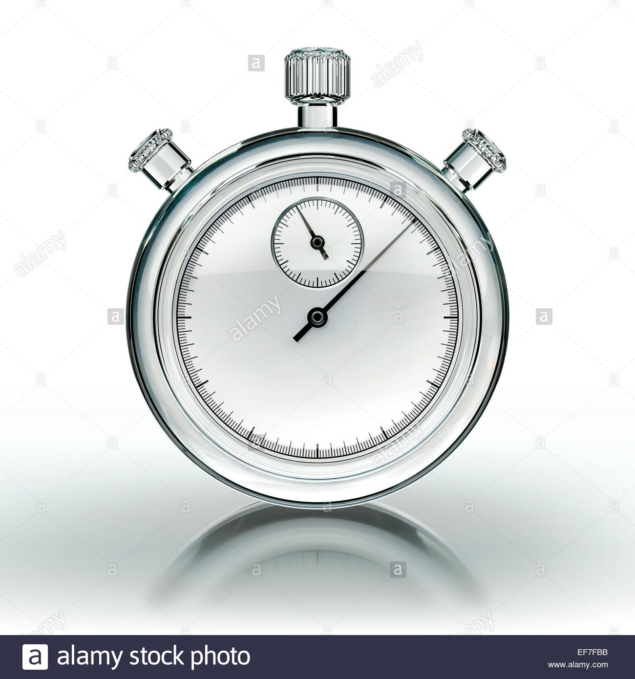 Glass stopwatch on white background - Stock Image
