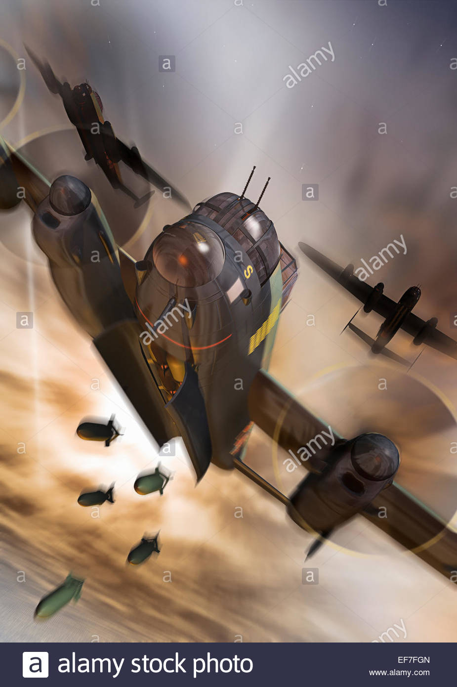 Military airplane dropping bombs - Stock Image