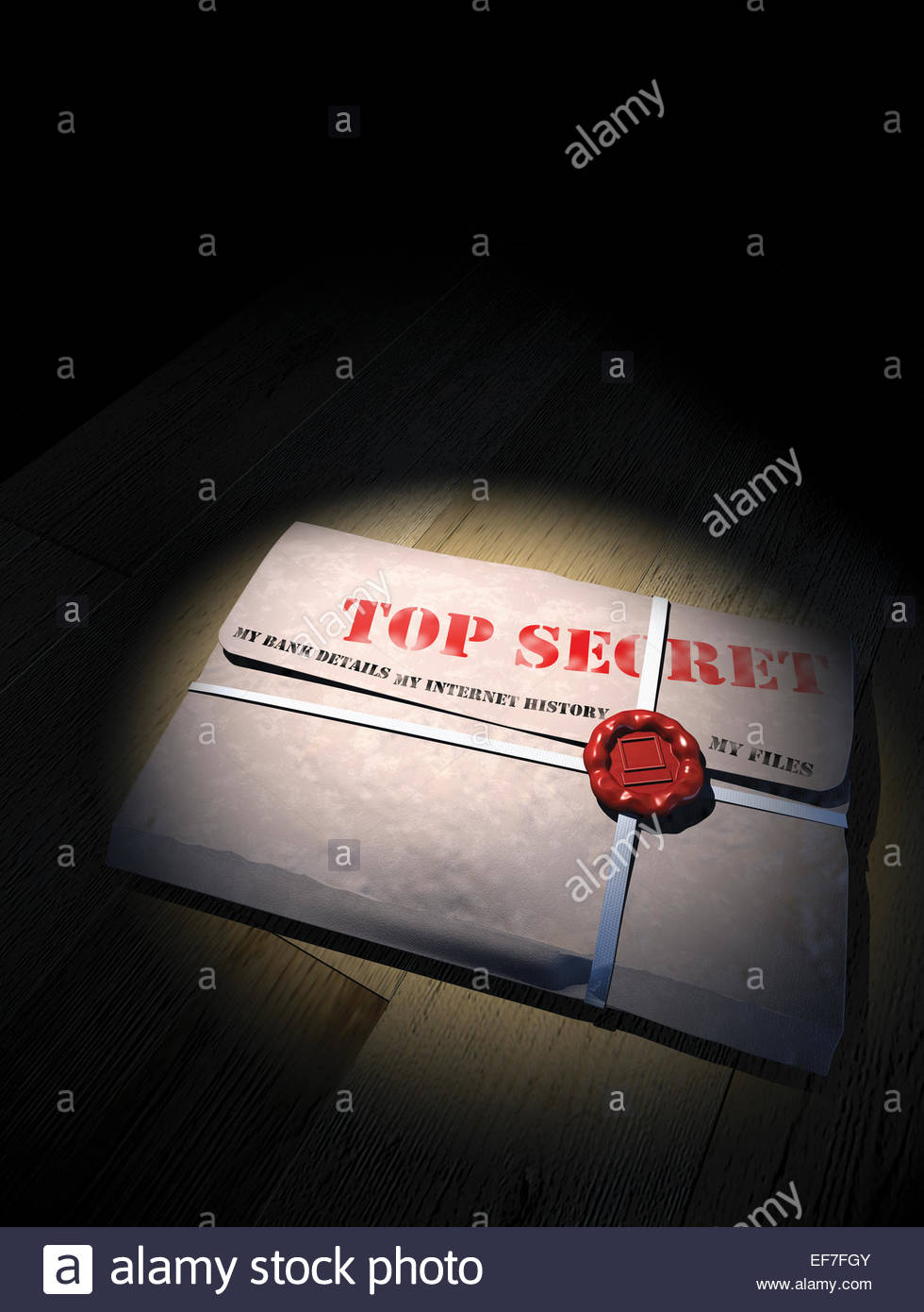 Document folder with seal containing top secret internet banking information - Stock Image