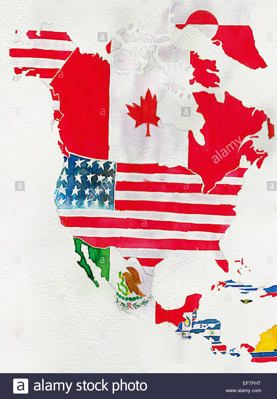 Watercolor flag map of North and Central America Stock Photo ...