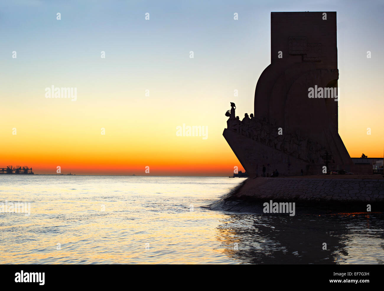 Sunset view of  Discoveries  Monument in Lisbon, Portugal - Stock Image