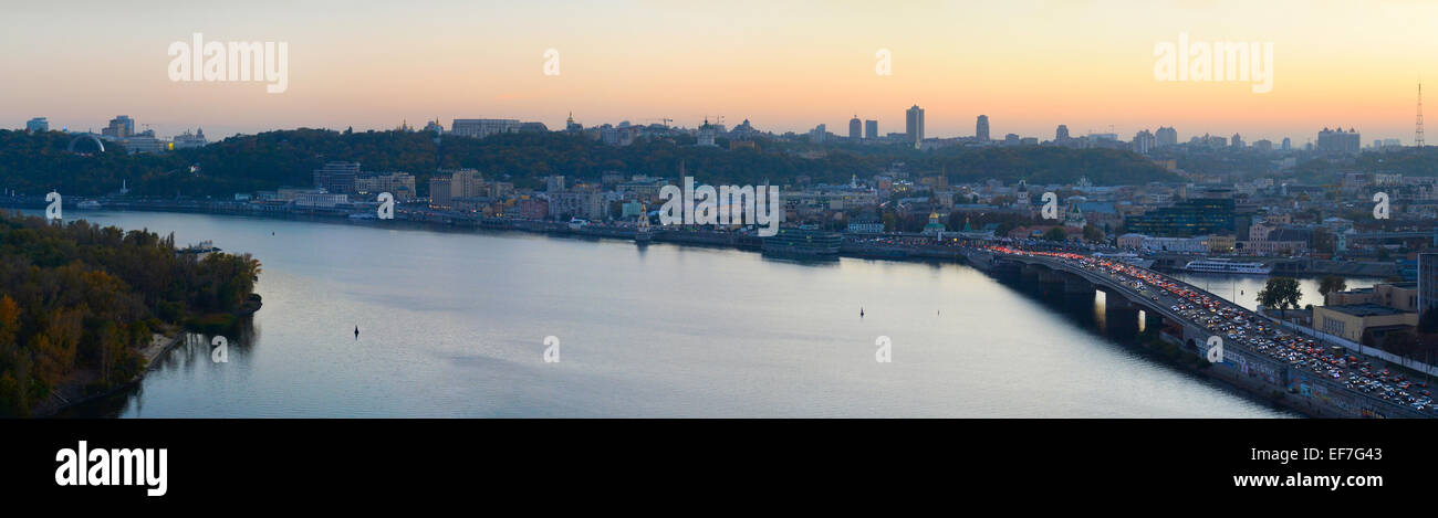 Wide panoramic view of Kiev at dusk. Ukraine - Stock Image