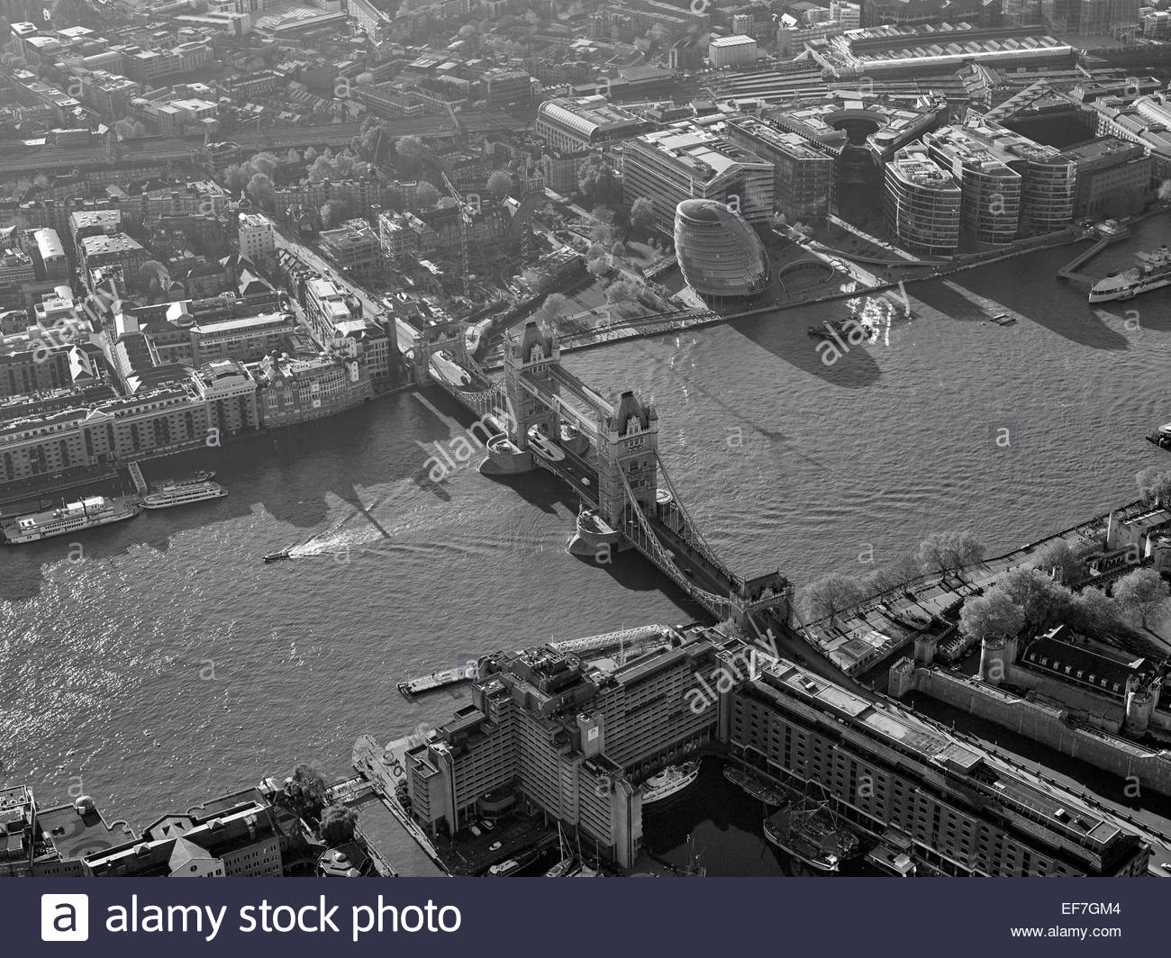 Tower Bridge, and the river Thames, Central London, UK - Stock Image