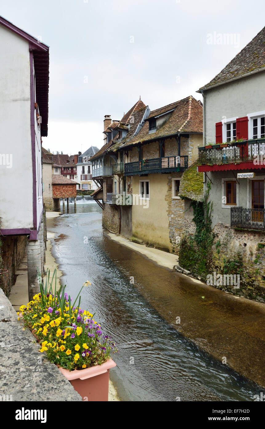 Spring view of the French town Salies de Bearn Stock Photo