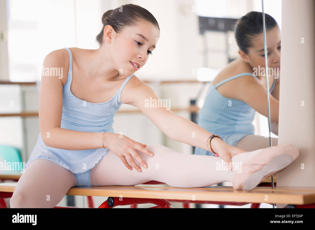 Girl stretching - Stock Image