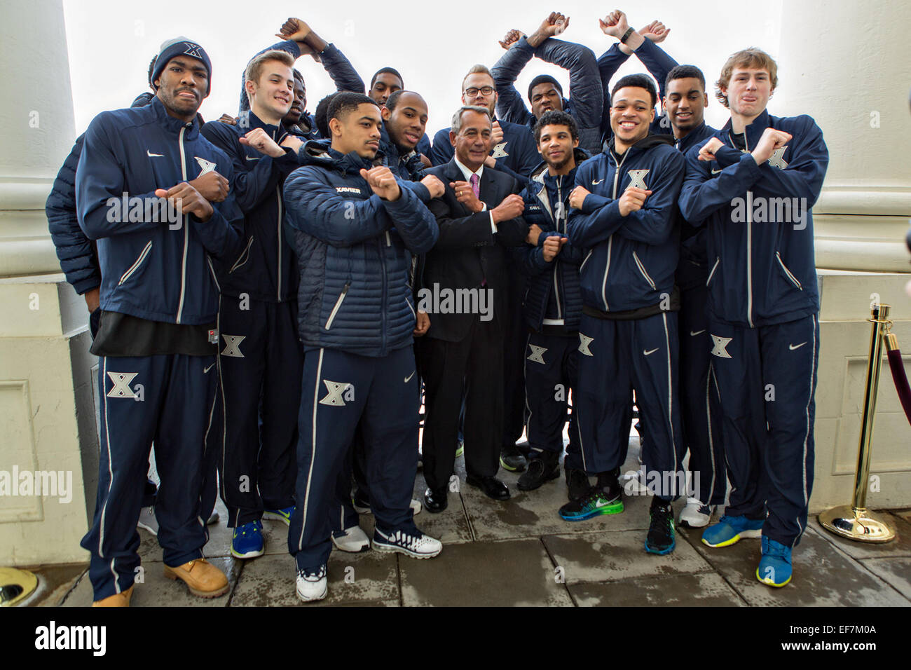 US Speaker of the House John Boehner welcomes the Xavier Men's Basketball team to the U.S. Capitol January 27, 2015 - Stock Image
