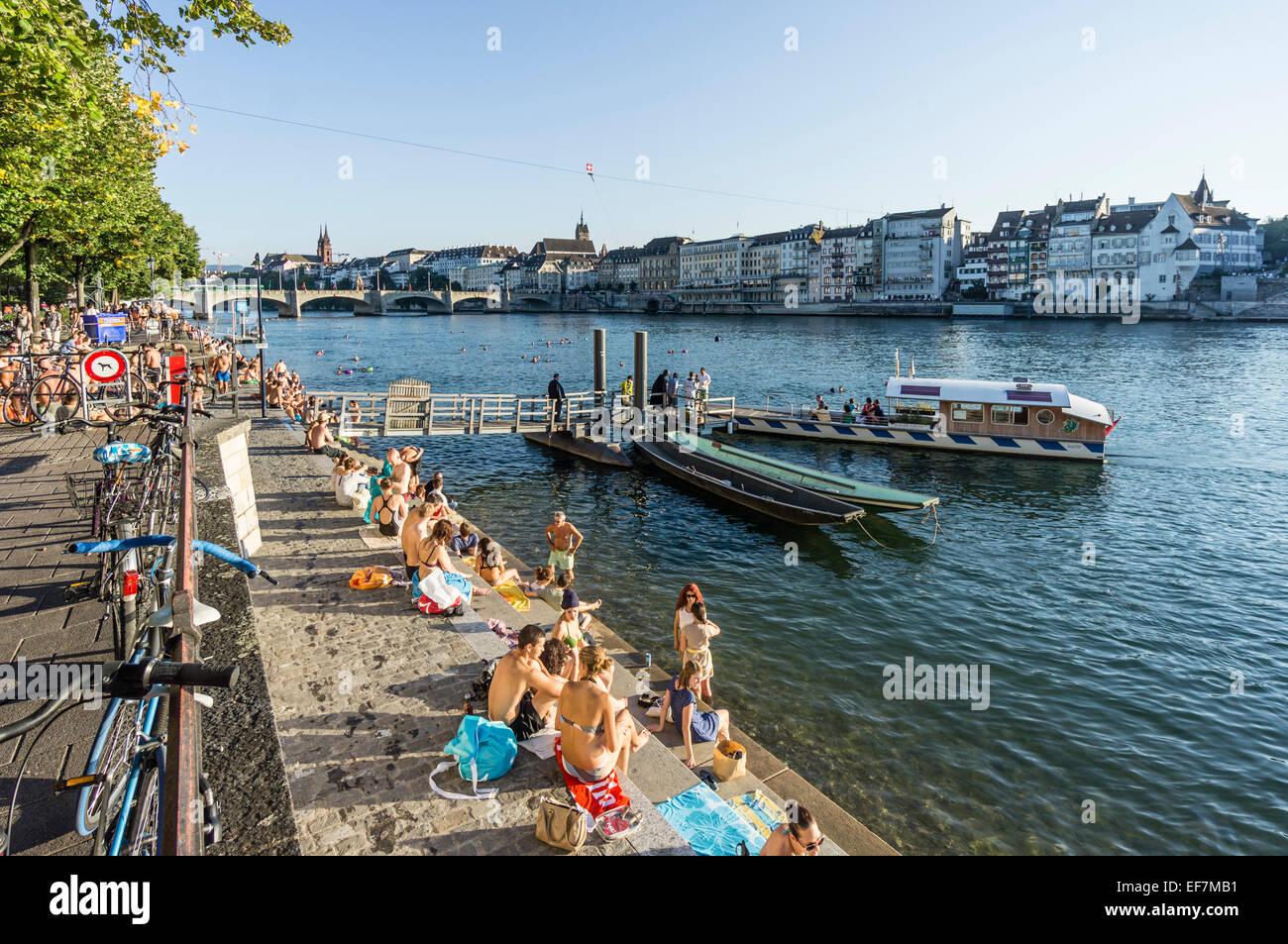 Rhine River in Summer, Middle Bridge, Ferry, Basel, Switzerland - Stock Image