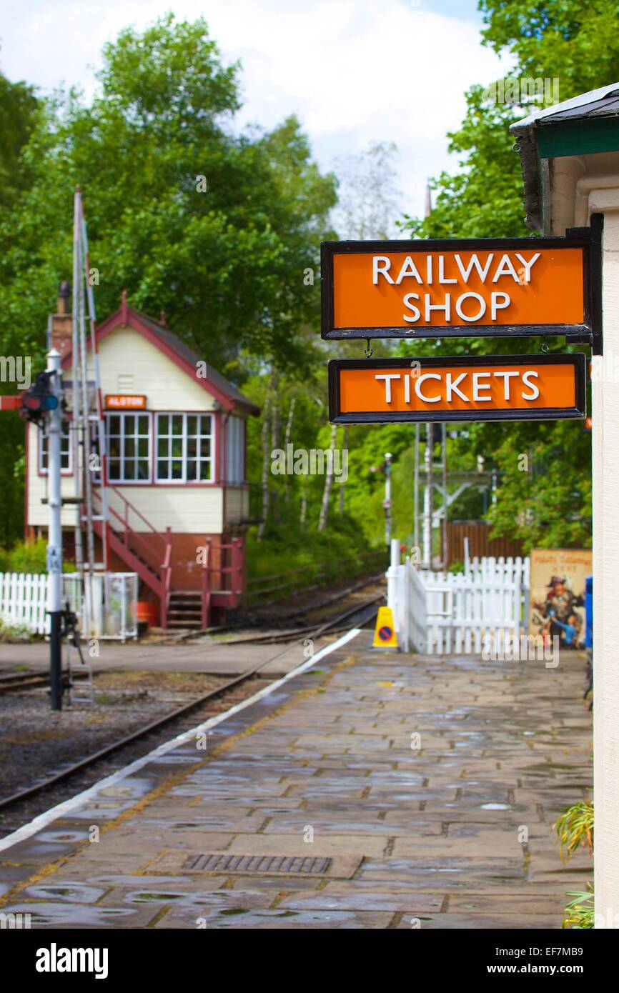 Railway Shop & Tickets sign. South Tynedale Railway, Alston Station, Alston, Cumbria, England, UK. - Stock Image