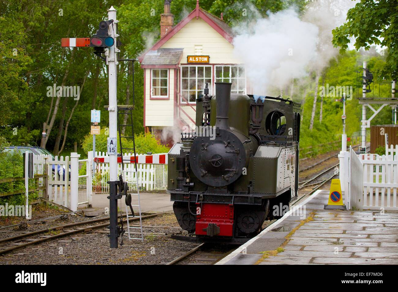 "Steam locomotive ""Thomas Edmondson"" arriving at Alston Station on the South Tynedale Railway, Alston, Cumbria, England, - Stock Image"
