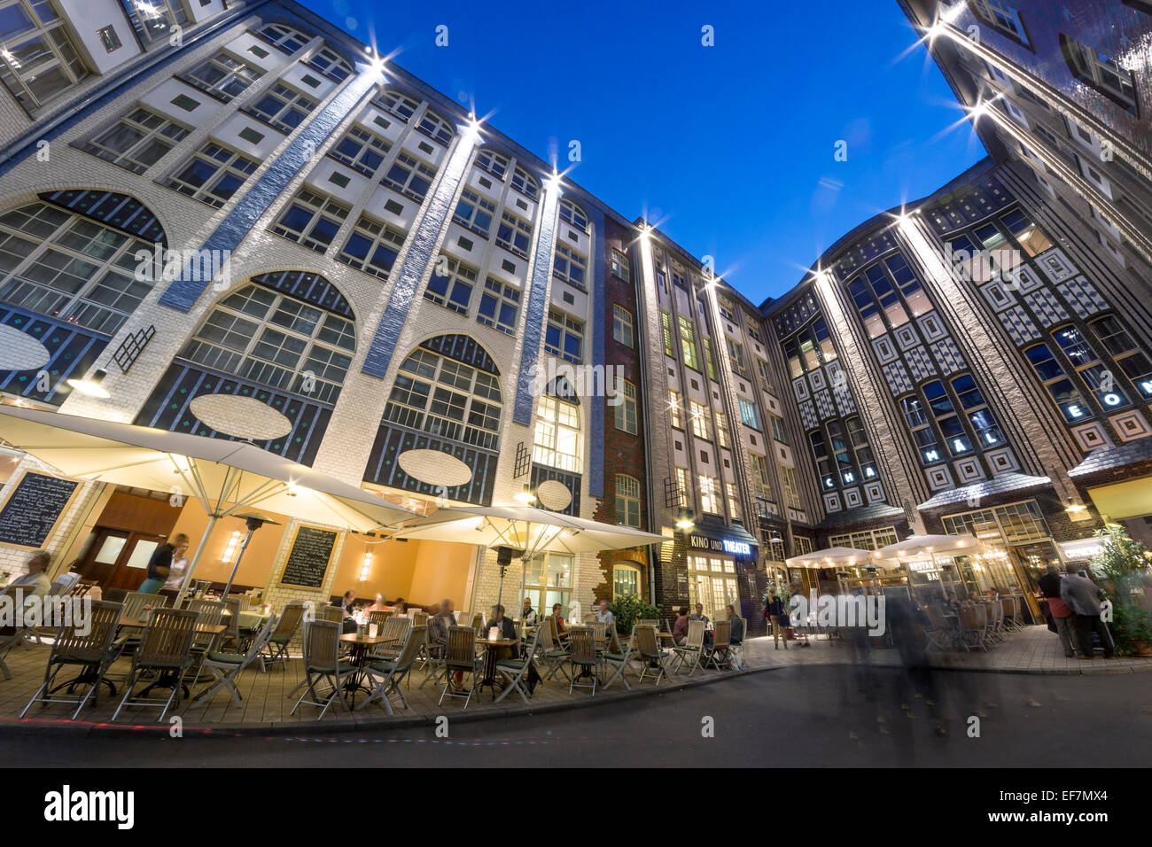 Hackesche Hoefe, Hakesch Courtyard, Fisheye, Berlin, Germany - Stock Image