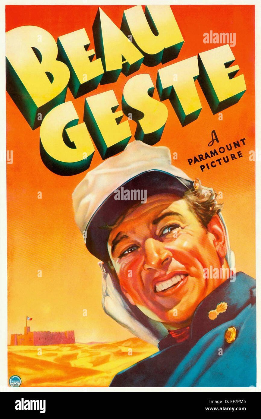 Beau Geste - Gary Copper - Movie Poster - Stock Image