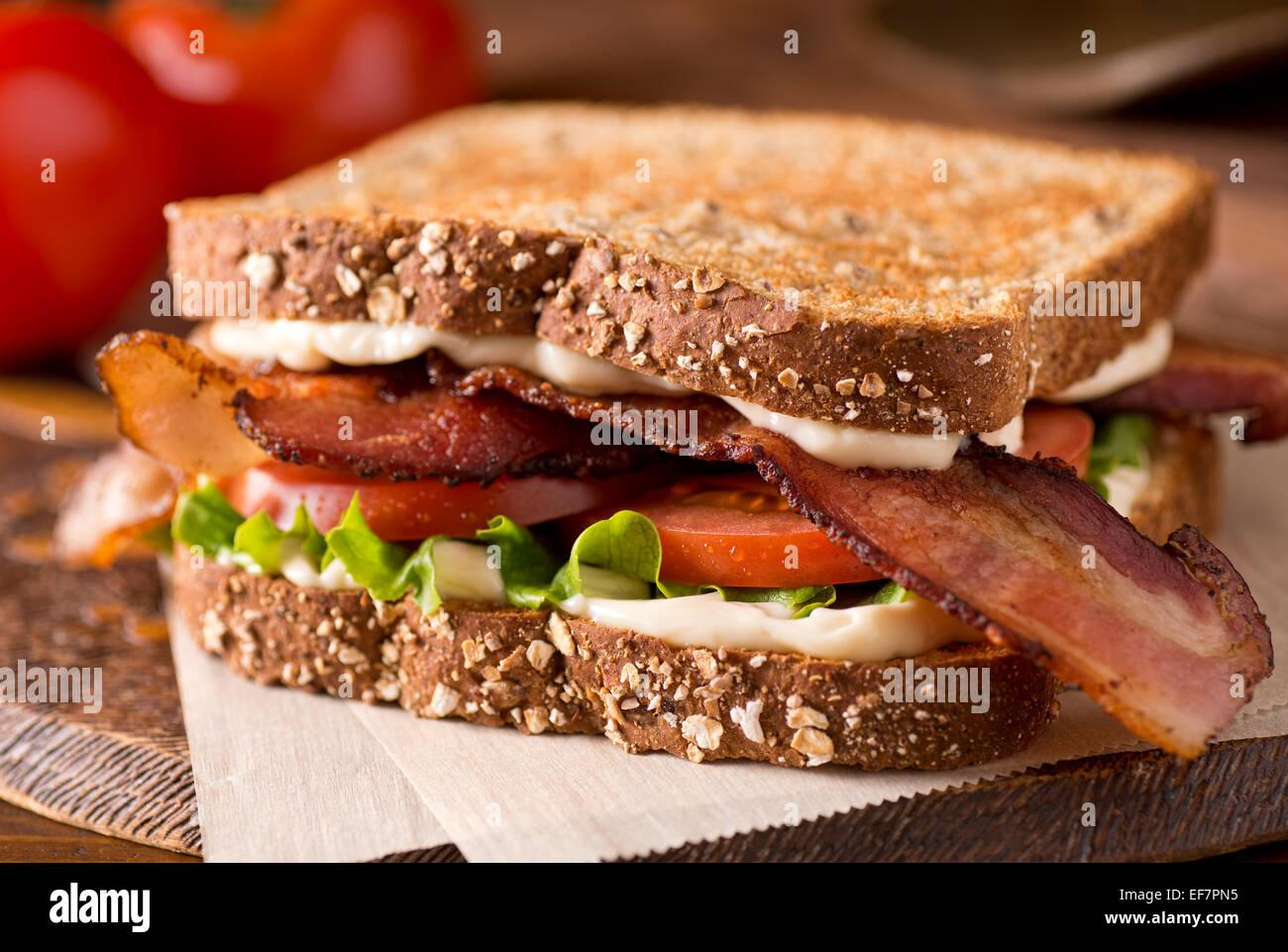 A delicious bacon, lettuce, and tomato blt sandwich. - Stock Image