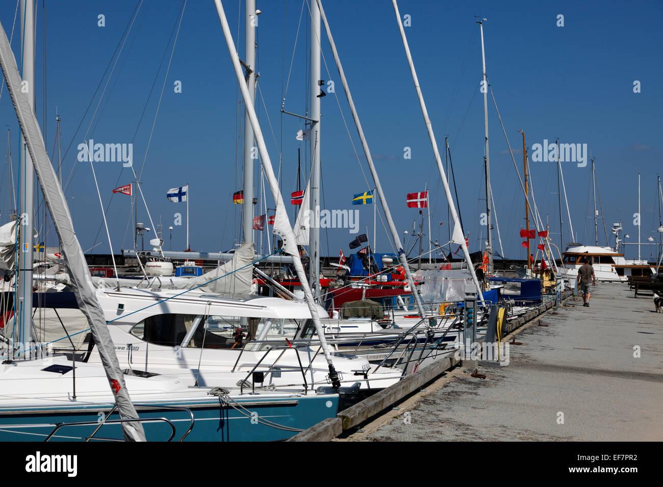 Hornbæk / Hornbaek Harbour, North Zealand, Denmark, on a warm and sunny summer day - Stock Image