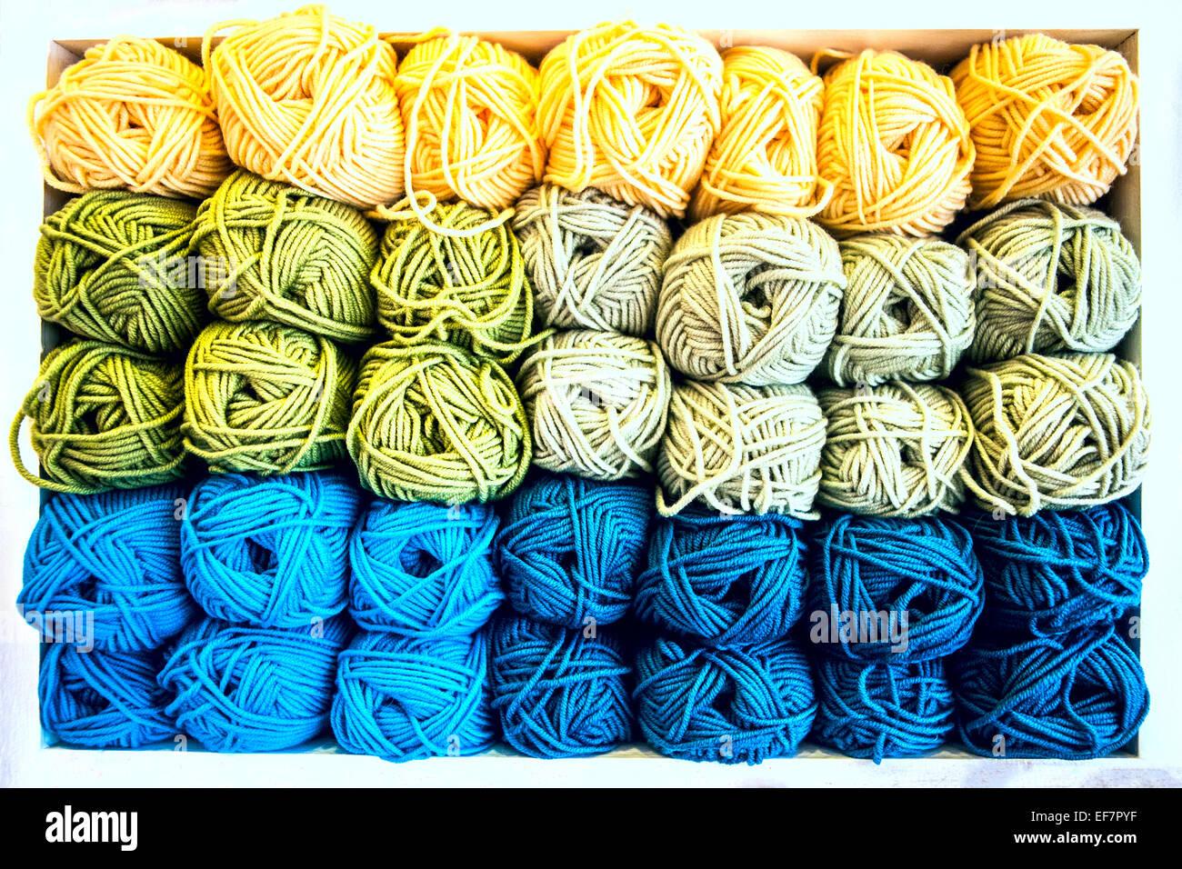 Skeins of yarn wool - Stock Image