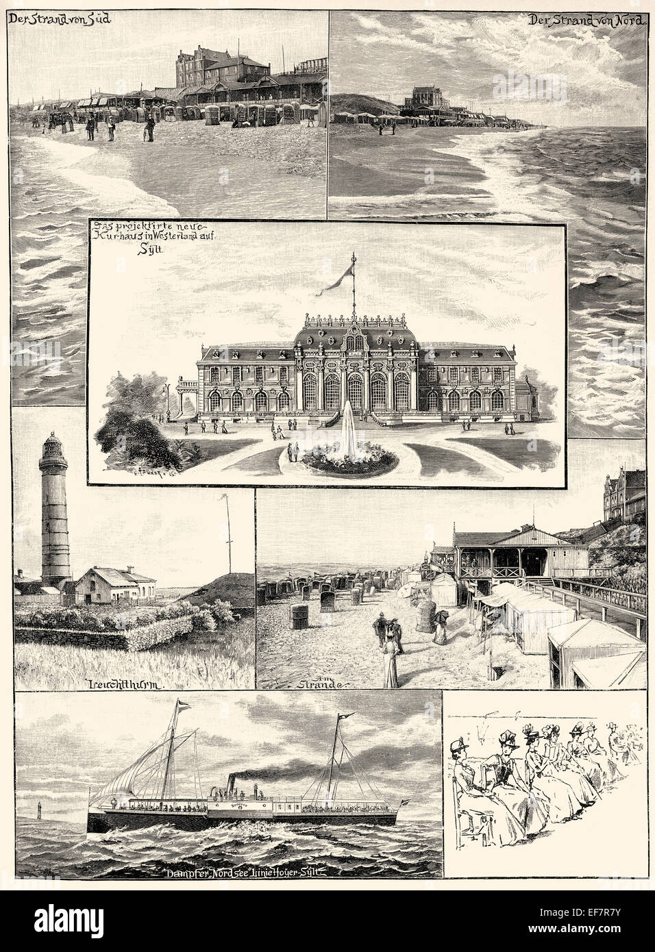 Pictures of Westerland, the Kurhaus project in 1900, Sylt, Germany, - Stock Image
