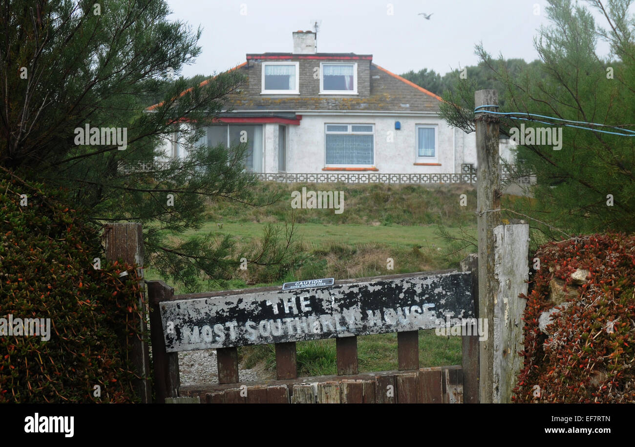 Sepetember 2014 The most southerly house in Britain at Lizzard Point, Cornwall  Mike Walker Pictures - Stock Image