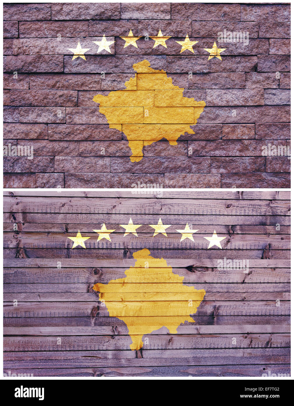 Vintage wall flag of Kosovo collage - Stock Image